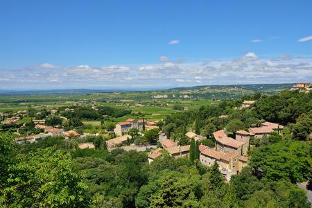 cited: View from  Medieval Village of Seguret on rural landscape, Provence, France