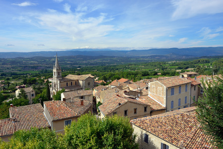 cited: Beautiful Medieval Village of Bonnieux and rural landscape, Provence, France Stock Photo