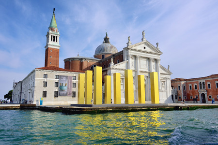 mack: VENICE, ITALY - SEP 24, 2014: The installation The Sky Over Nine Columns of sculptor Heinz Mack in San Giorgio Maggiore.  Modern art sculpture at island San Giorgio Maggiore in Venice, Italy. Editorial