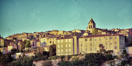 cited: Beautiful Medieval Village of Sault at sunset time, Provence, France. Filtered image, vintage effect applied