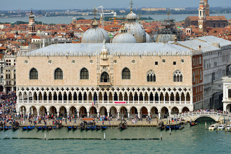 doges: View from above on the Doges palace on Saint Marco square, Venice, Italy