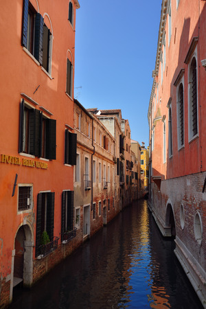 luxuriously: VENICE, ITALY - SEPT 25, 2014: Hotel Bella Venezia Venice is a 4-star hotel comprising of 24 high quality luxuriously styled rooms overlooking the romantic canals, situated in a historic 16th century palazzo