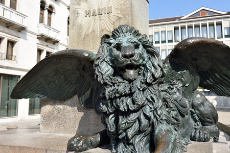 Winged Lion at Campo Manin. Detail from the 1875 monument of Manin by Luigi Borro in Venice, Italy Editorial