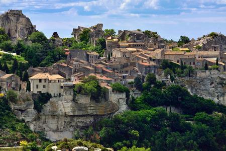 Les Baux de Provence village on the rock formation and its castle. France, Europe. photo