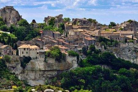 Les Baux de Provence village on the rock formation and its castle. France, Europe. Stock Photo