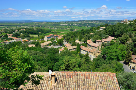 cited: View from  medieval village of Seguret on rural landscape, Provence, France