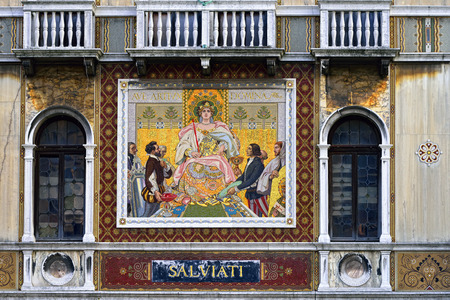 The facade of the Palazzo Salviati on the Grand Canal, Venice. Palazzo Salviati is a 19th century building with mosaics advertising the products of the Salviati glassworks
