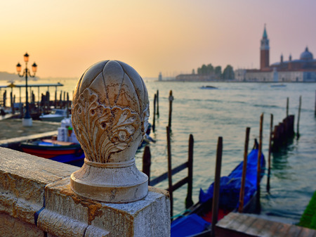 saint mark square: View on venetian lagoon from bridge of Sighs at sunrise. Venice, Italy. Small depth of field Editorial