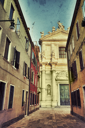 sestiere: View on the church of Santa Maria Assunta, known as I Gesuiti in Venice. It is located in the sestiere of Cannaregio, in Campo dei Gesuiti, not far from the Fondamenta Nuove. Filtered image, vintage effect applied Stock Photo