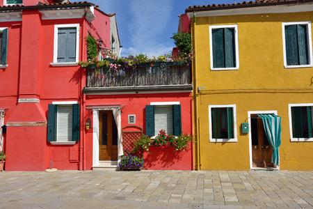Burano island, Venice. Colorful houses island and landmark of Veneto region, Italy