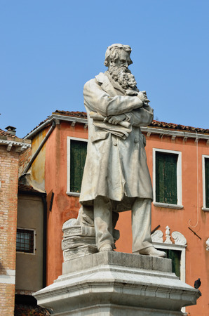 essayist: The monument to Niccolo Tommaseo in Campo Santo Stefano square, in Venice, was sculpted by Francesco Barzaghi (1839-1892), and was inaugurated on March 22 1882.