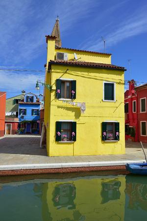 Colorful houses on the famous island Burano, Venice . Venice and the Venetian lagoon  photo