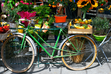 The bike is used as the stall at the village market. Provence, France