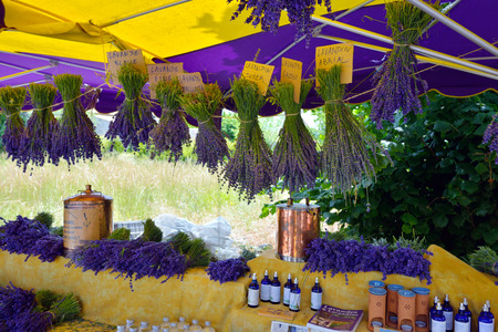 PROVENCE, FRANCE - JULY 6, 2014: Street market during annual lavender festival in the small village Ferrassieres. Street markets are very popular business in rural region of France