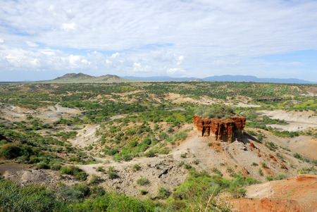 View of ravine Olduvai Gorge, one of the most important paleoanthropological sites in the world - the Cradle of Mankind. Great Rift Valley, Tanzania, Eastern Africa.