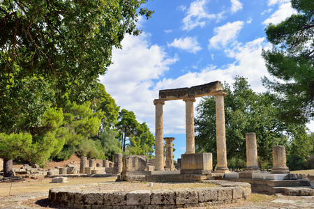 Greece Olympia, ancient ruins of the important Philippeion in Olympia - UNESCO world heritage site Stock Photo