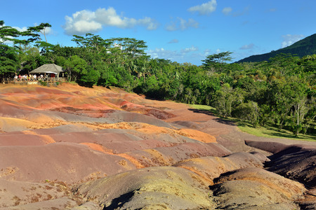 descriptive colours: Main sight of Mauritius island. Unusual volcanic formation seven colored earths in Chamarel. Stock Photo