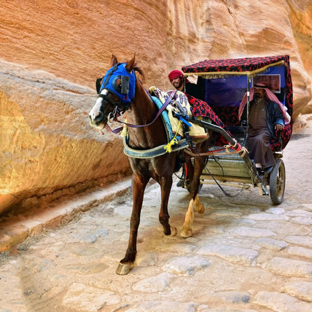 siq: PETRA, JORDAN - APR 2, 2015: Unidentified people in a horse carriage in a gorge, Siq canyon in Petra, Jordan. Petra is one of the New Seven Wonders of the World.