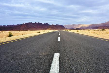 Asphalt Road to Timna national park in Negev Desert, Israel