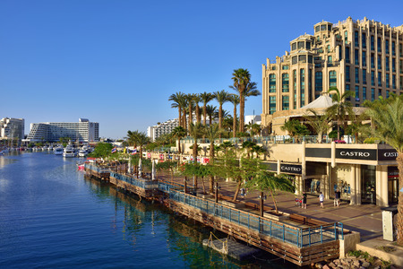 EILAT, ISRAEL - MARCH 31, 2015: Eilat city shown at sunset time, famous international resort - the southest city of Israel Imagens - 38953807