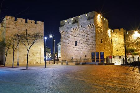 jaffa: Night view on the Jaffa Gate, Old City, Jerusalem, Israel