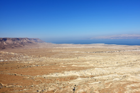 judean hills: View on the Judean desert and the Dead Sea coastline from above Israel