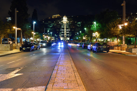 baha: HAIFA ISRAEL APR April 2015: Night view on the street Bahai temple and garden in Haifa Editorial