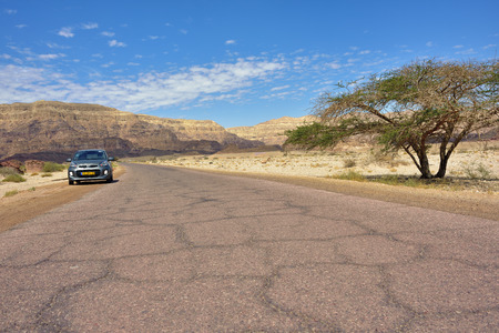 timna: TIMNA ISRAEL APR March 2015: Car with tourist shown on the asphalt road inTimna national park in Negev Desert. One from most popular nature attraction in south Israel