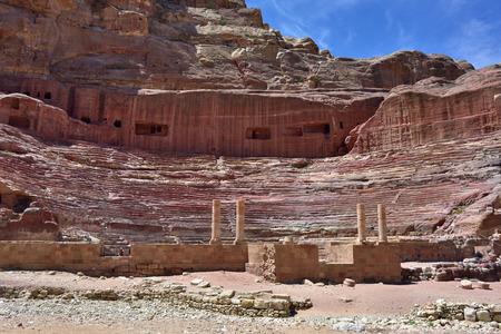 khazneh: View of ancient amphitheater in Petra Jordan Stock Photo