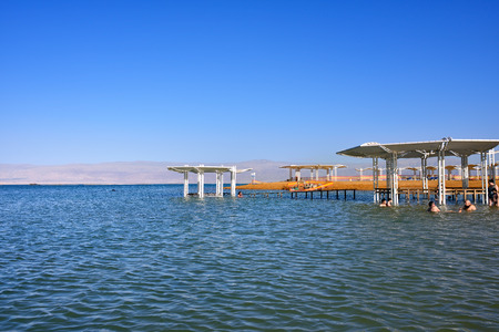 dead: ISRAEL DEAD SEA APR March 2015: Tourists have a rest in the Crowne Plaza resort one from many resorts of Israel39s part of Dead.