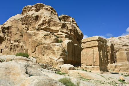 Djinn blocks cubeshaped monuments in Petra Jordan Stock Photo
