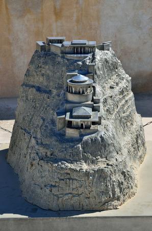 masada: MASADA ISRAEL APR May 2015: A miniature model of the summer palace of King Herod in zelot fortress Masada Israel Editorial