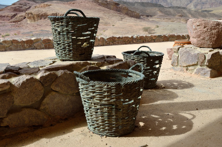 timna: Copper baskets in the park Timna Israel Stock Photo