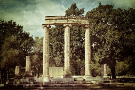 ancient olympic games: Greece Olympia ancient ruins of the important Philippeion in Olympia birthplace of the olympic games UNESCO world heritage site Stock Photo
