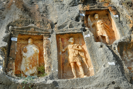 unknown men: Adamkayalar  literally manrocks is a location in Mersin Province Turkey famous for rock carved figures. These figures are probably from the second century AD