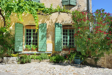 France Provence. Vaison la Romaine. Typical medieval houses decorated with green plant and flowers in pots.