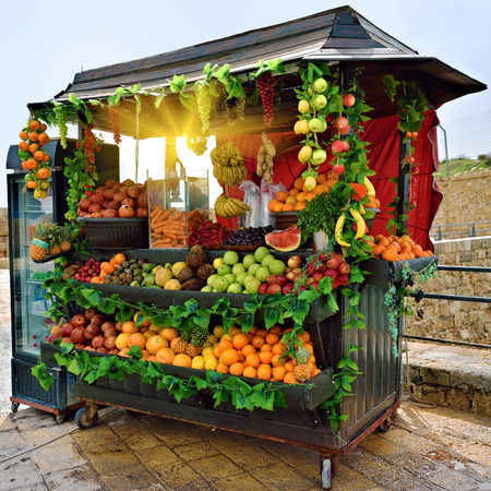 israel: Selling fresh fruits and vegetables on the streets of Acre in Israel at morning