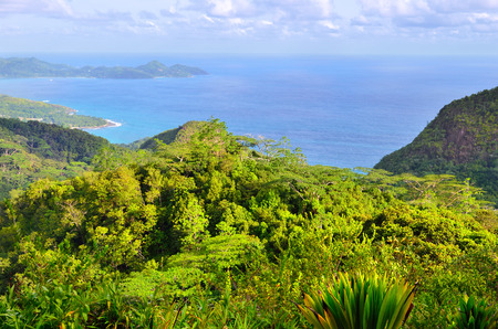 island: Aerial view on the coastline of the Seychelles Islands, Mahe Stock Photo
