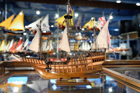 floreal: MAURITIUS - MAY 2, 2013: Santa Maria sailfish as ship model in factory shop. Wooden replica of the old famous vessel is the most popular tourist souvenir at island of Mauritius Editorial
