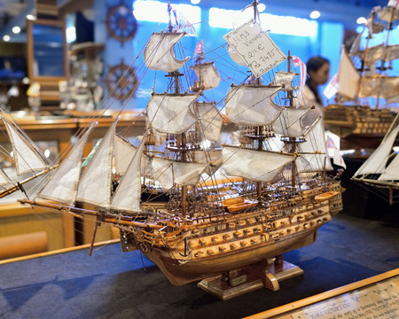 floreal: MAURITIUS - MAY 2, 2013: H.M.S. Victory sailfish as ship model in factory shop. Wooden replica of the old famous vessel is the most popular tourist souvenir at island of Mauritius