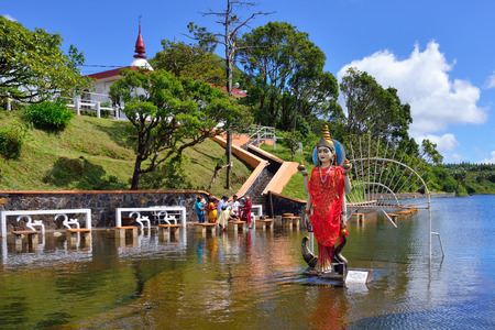 hindu: MAURITIUS - MAY 01, 2013:  Grand Bassin - hindu temples of Mauritius. Grand Bassin is a sacred crater lake is one of the most important hindu pilgrimage sites outside of India