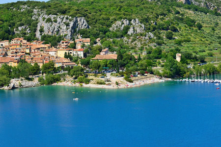 cited: Beautiful Medieval Village Bauduen on the lake shore, Provence, France Stock Photo