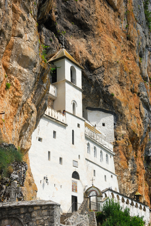 serbian: Ostrog Monastery beautiful view. The most holy place in Montenegro Stock Photo