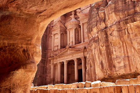 ancient buildings: Al Khazneh - the treasury of Petra ancient city, Jordan. View from tomb
