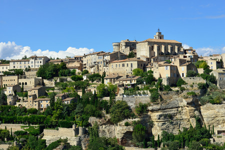 gordes: Beautiful Medieval Village of Gordes at evening time, Provence, France