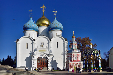 SERRGIEV POSAD, RUSSIA - OKT 16, 2015: Assumption Cathedral in the Trinity Sergius Lavra in Sergiev Posad Russia, circa 15th century. UNESCO World Heritage Site