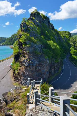 preferable: Road around the high cliff on the coast of Indian ocean. Mauritius island is one from preferable destination for luxury holiday in all season Mauritius
