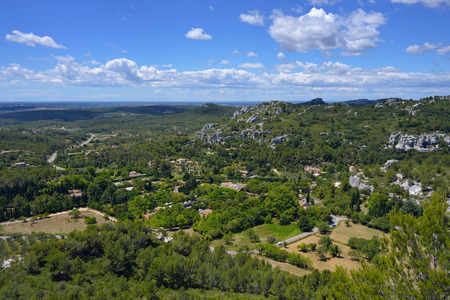 luberon: Beautiful rural landscape in luberon, view from Les-baux-de-provence Stock Photo