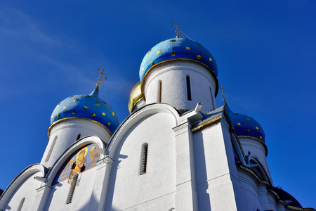 archtecture: Typical russian medieval archtecture. Assumption Cathedral in the Trinity Sergius Lavra in Sergiev Posad Russia, circa 15th century. UNESCO World Heritage Site