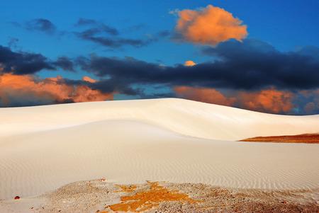 Socotra, Yemen, white sand dunes in Stero at beautiful sunset. Indian ocean coast Imagens - 49608791